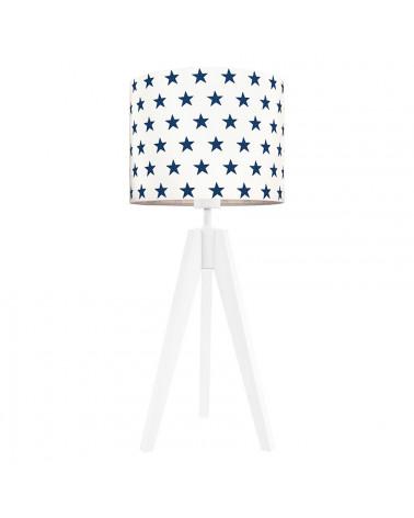 Lampe à poser trépied blanc étoiles bleu