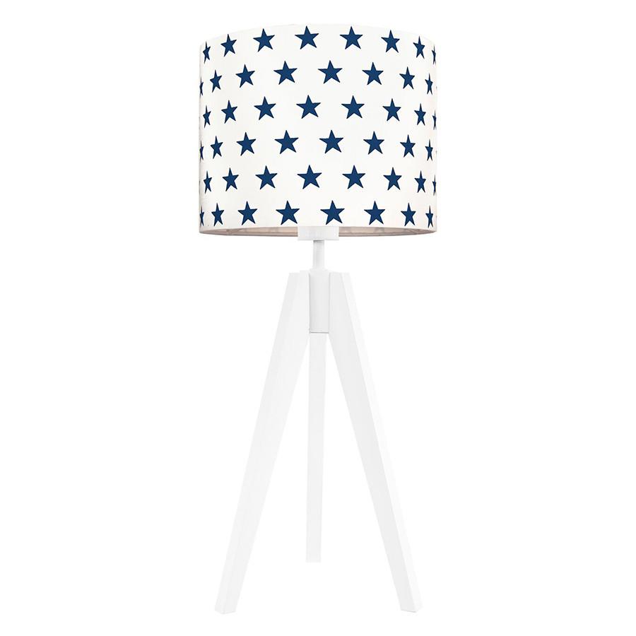 Lampe A Poser Trepied Et Abat Jour Etoiles Bleu Marine
