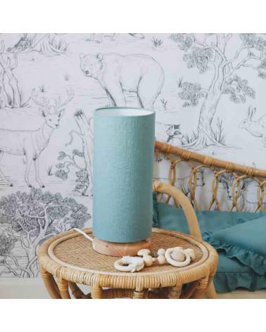 lampe de chevet tube en lin bleu turquoise
