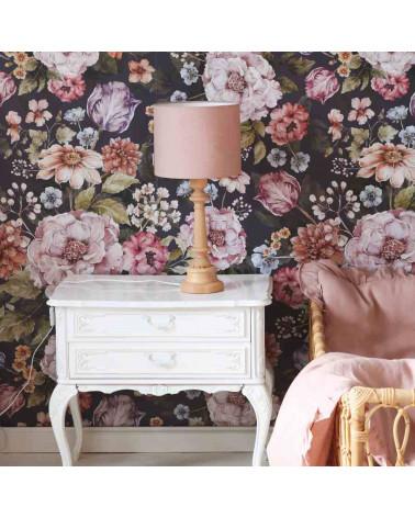 lampe à poser abat jour en lin rose poudré