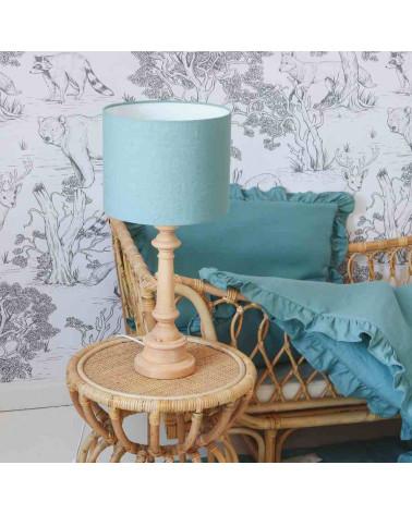 lampe à poser abat jour en lib bleu turquoise