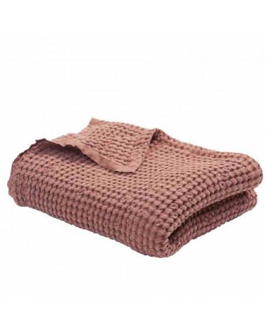 couverture gaufrée en lin et coton brique