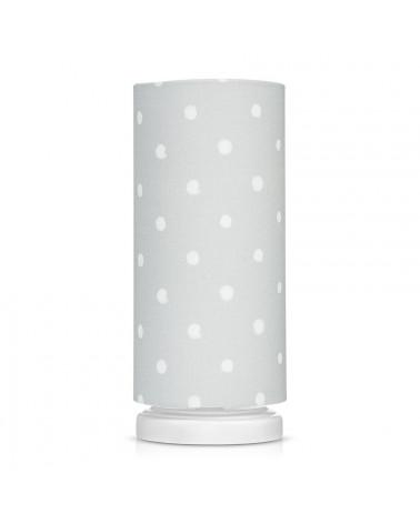 Lampe de chevet tube grise à pois