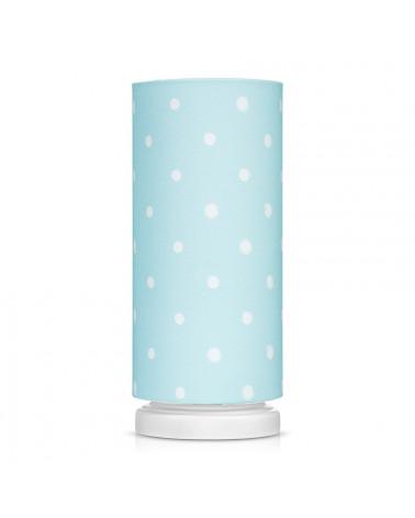 Lampe de chevet tube menthe à pois