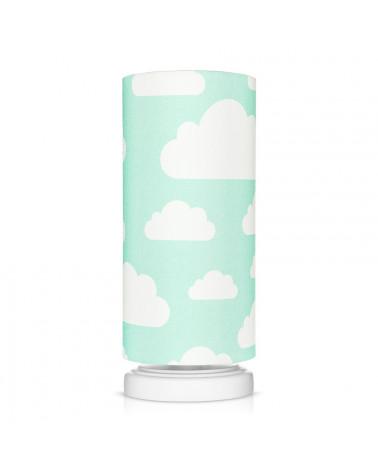 Lampe de chevet menthe motif nuages