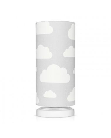 Lampe de chevet tube grise motif nuages