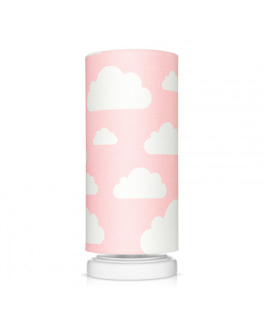 Lampe de chevet tube rose motif nuages