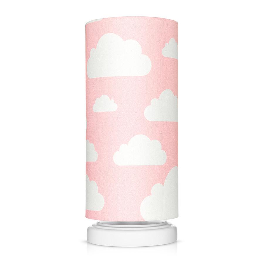 Lampe de chevet tube rose motif nuages