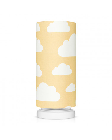 Lampe de chevet tube jaune moutarde motif nuages