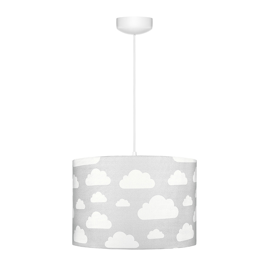 Suspension Ou Abat Jour Gris Motif Nuages