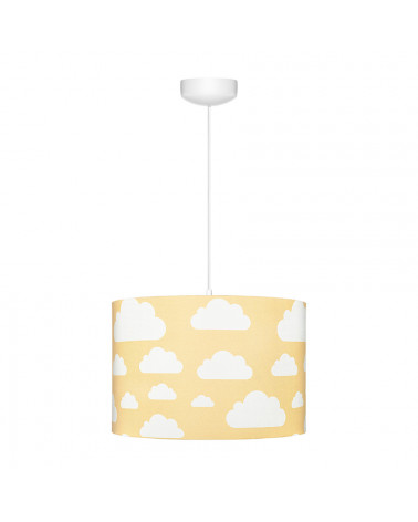 Suspension jaune moutarde motif nuages
