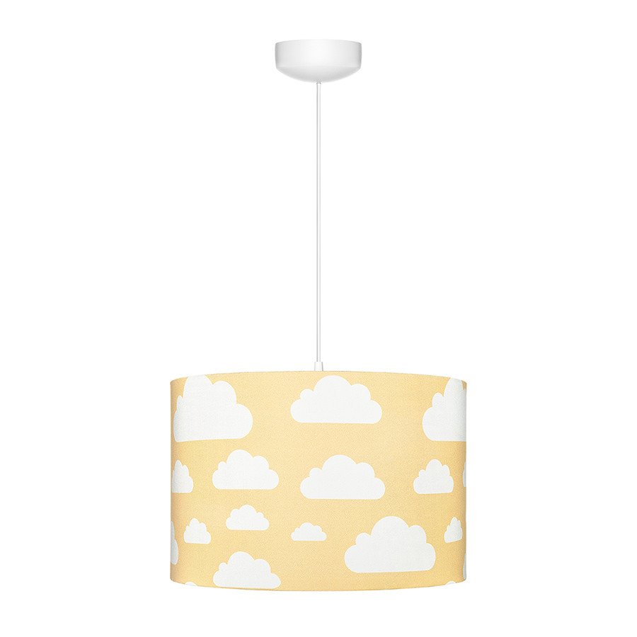 Suspension Ou Abat Jour Jaune Moutarde Motif Nuages