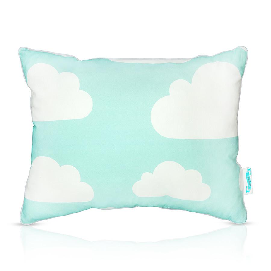 Coussin décoratif nuages menthe et gris