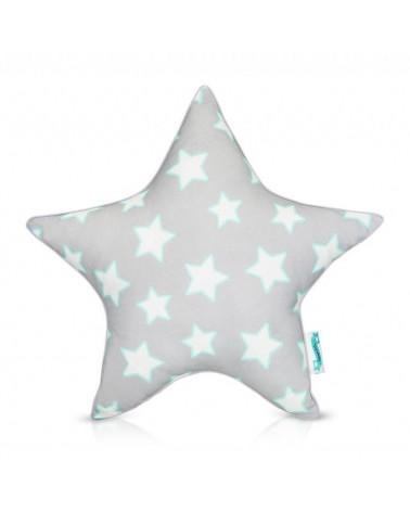 Coussin décoratif forme étoile gris et menthe