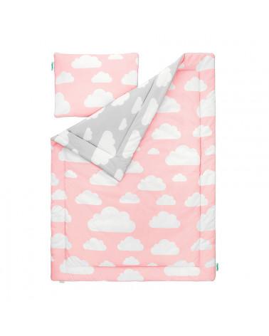 parure de lit motif nuages rose et gris