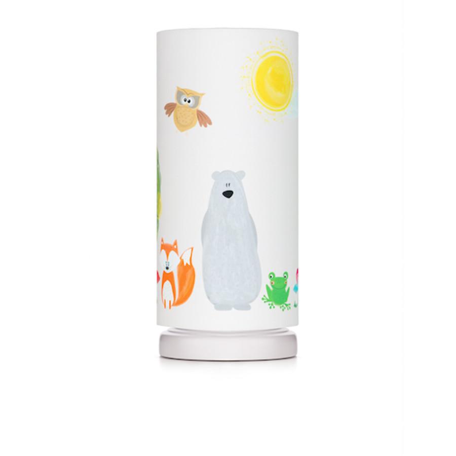 Lampe de chevet tube animaux de la forêt