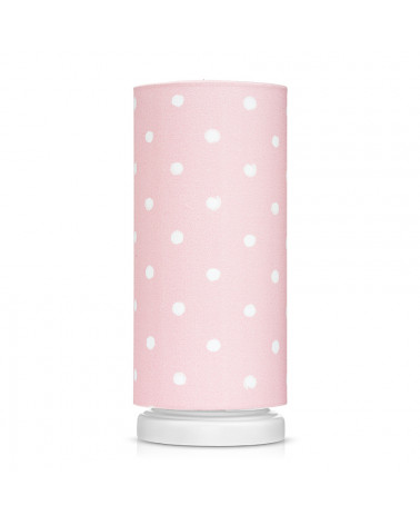 Lampe de chevet tube rose à pois