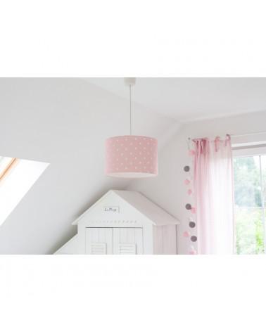 suspension rose pois chambre