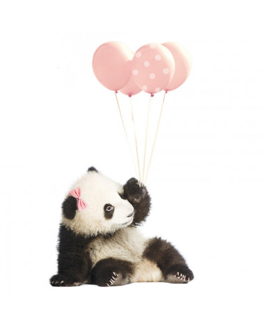 stickers panda ballon rose