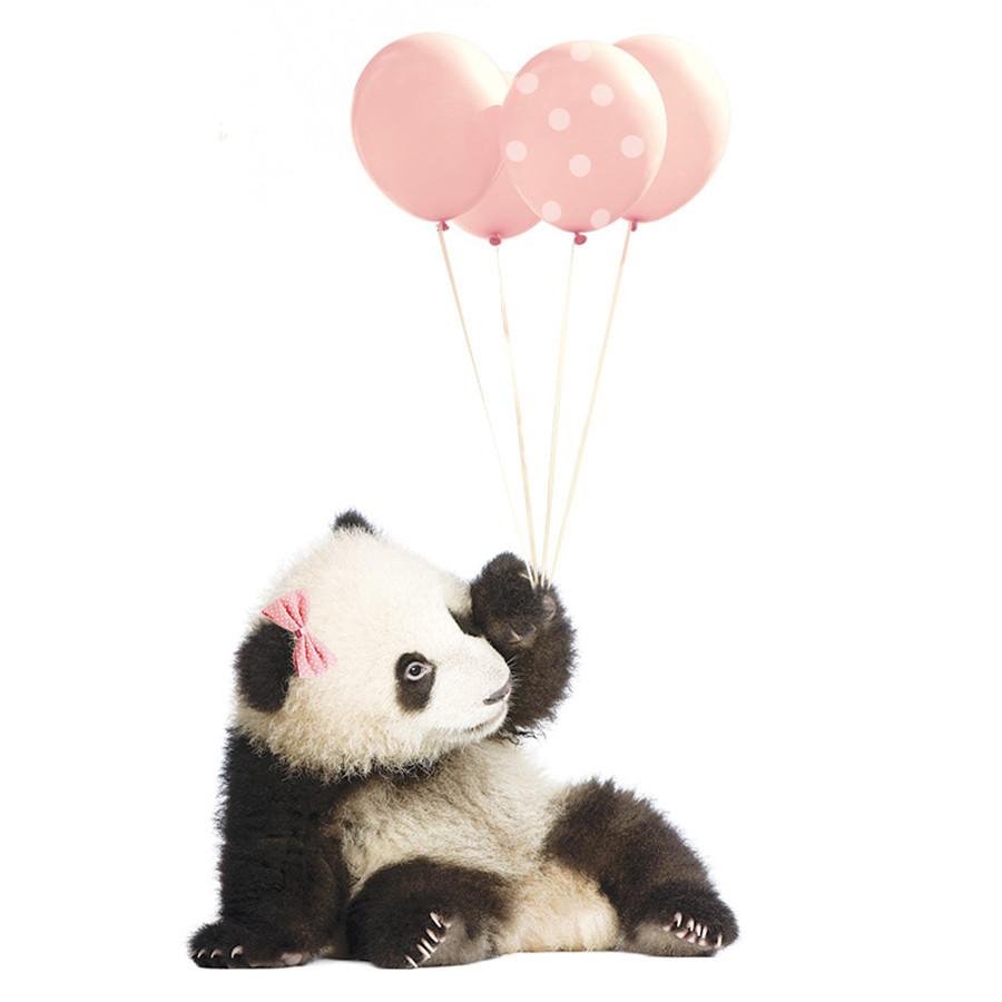 stickers panda ballon rose