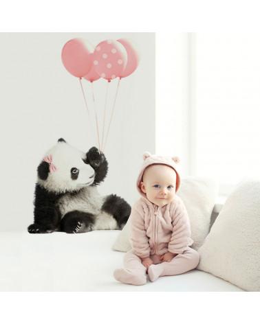 stickers panda ballon rose 2