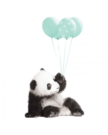 stickers panda ballon menthe