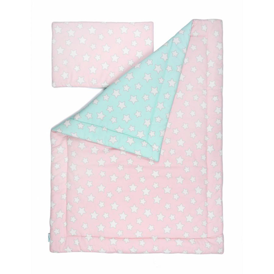 parure de lit rose et menthe