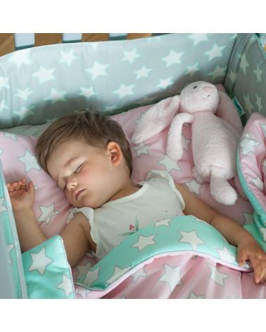 parure de lit rose et menthe lit