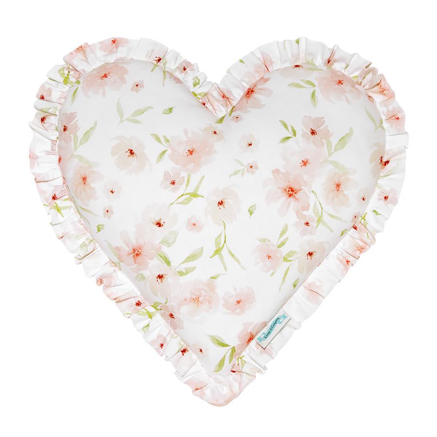 Coussin forme cœur fleurs