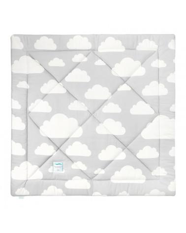Tapis de jeux gris et menthe motif nuages