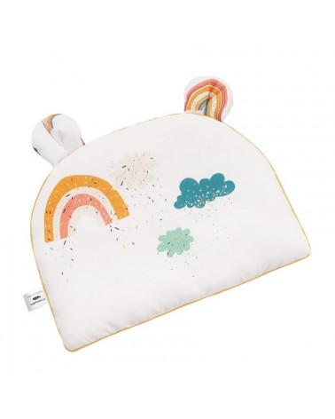 Oreiller plat bébé avec oreilles, motif arc en ciel
