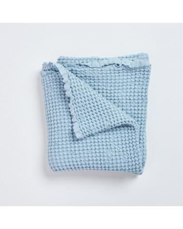 couverture gaufrée lin et coton bleu ciel