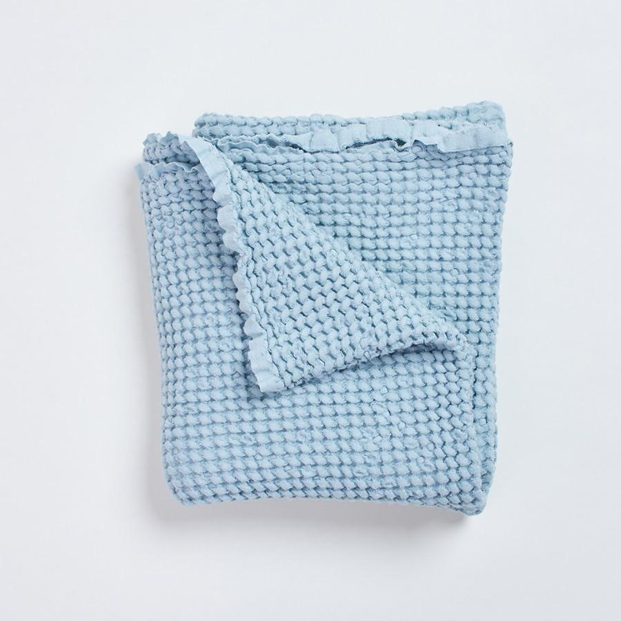 Chambre Bleu Ciel Et Lin couverture gaufrée lin et coton bleu ciel