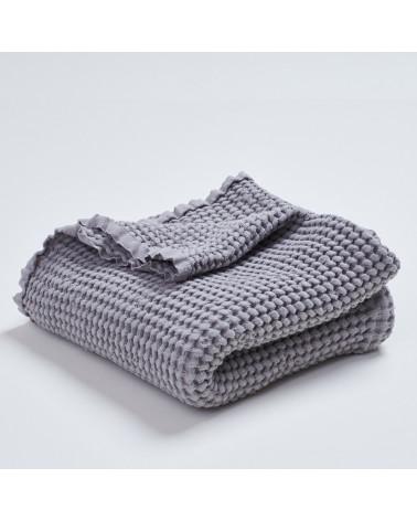 Couverture gaufrée en lin et coton grise