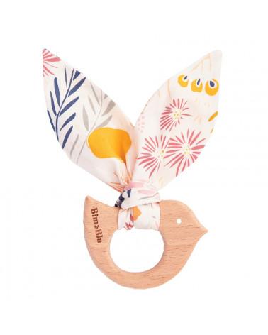 anneau de dentition en bois oiseau, meadow pastel