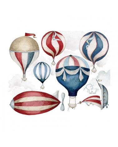 Stickers enfant montgolfières bleu et rouge