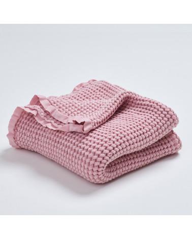 Couverture en lin et coton vieux rose