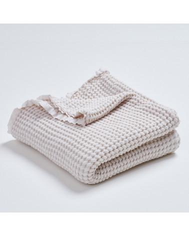 Couverture gaufrée en lin et coton écru