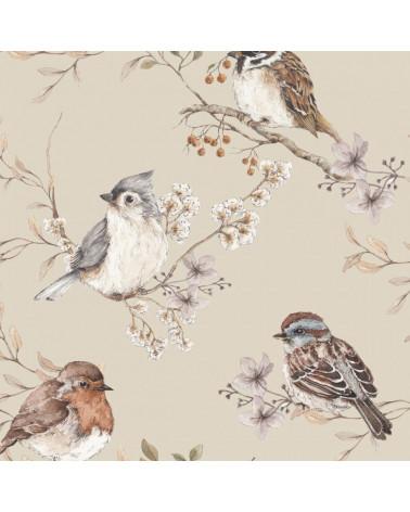 Papier peint oiseaux dans les feuilles fond beige