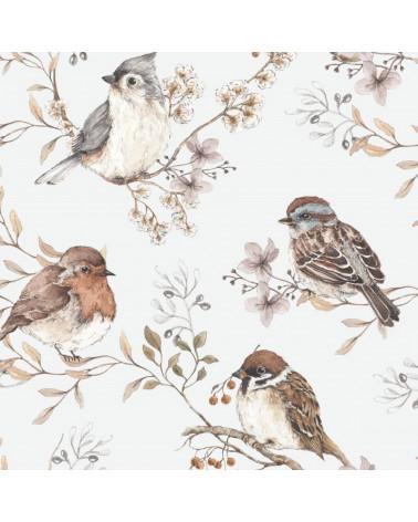 papier peint oiseaux sur ciel blanc gris feuilles