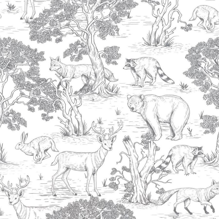 papier peint animaux de la forêt (noir et blanc)