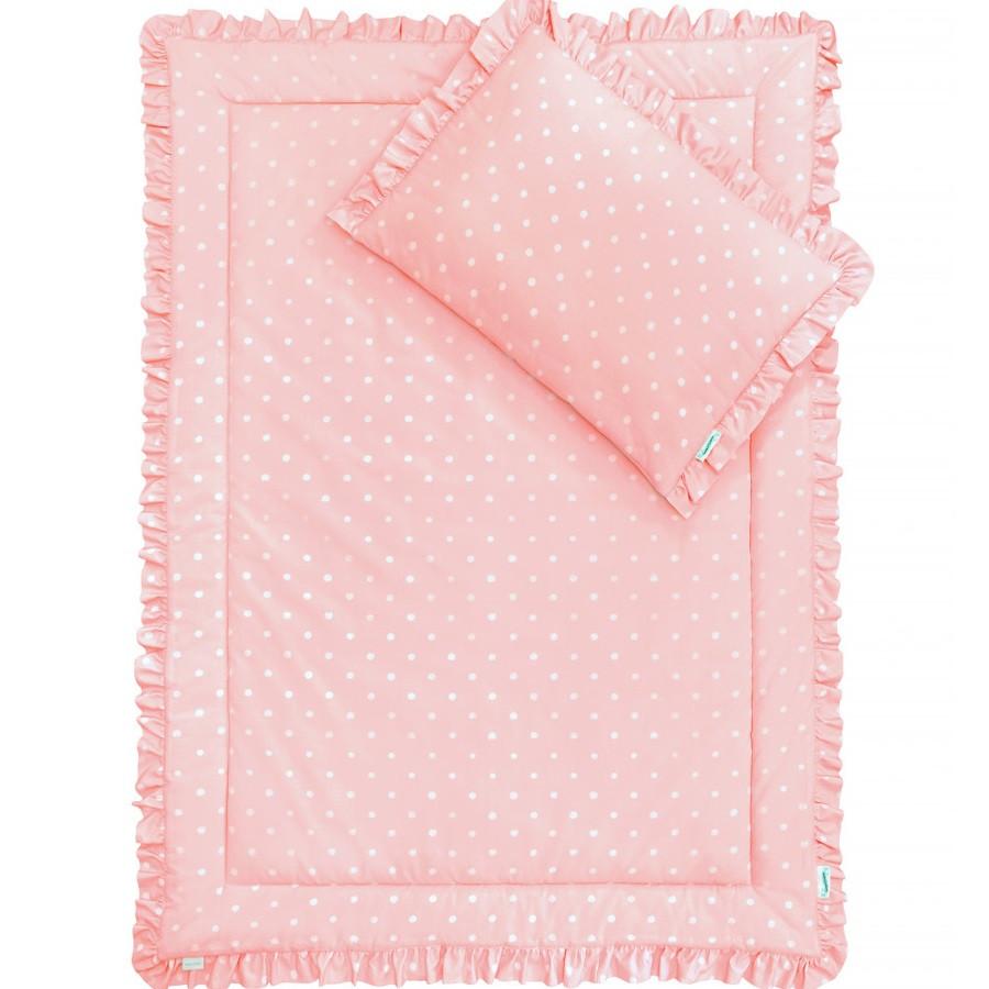 parure de lit  rose à pois avec volants