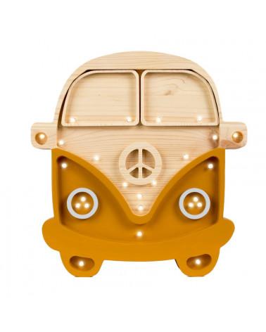 lampe veilleuse en bois combi van couleur moutarde et bois