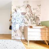 Papier peint Animaux de la savane et la jolie chambre imaginée par @charlottelechatarchitecte :-)   #decochambrebebe #chambrebebe #chambreenfant  #papierpeint #papierpeintenfant #animaux #savane #futuremaman #nature #decomurale #bebe #papierpeintbebe #dekornik #petibisonboutique #tapisserieenfant #decorationinterieur #deco